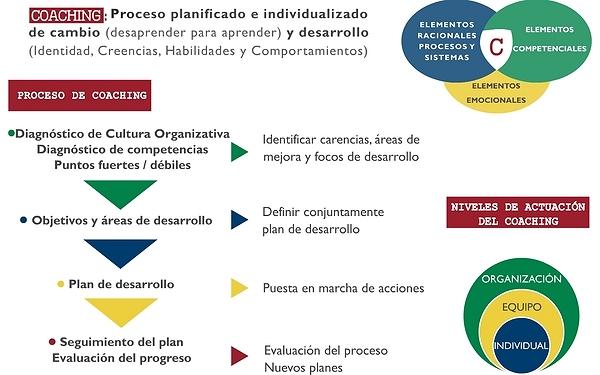 COACHING: Proceso planificado e individualizado de cambio (desaprender para aprender) y desarrollo (Identidad, Creencias, Habilidades y Comportamiento) | PROCESO DE COACHING: * Diagnóstico de Cultura Organizativa; Diagnóstico de Competencias; Puntos fuertes/débiles (Identificar carencias, Áreas de mejora y focos de desarrollo); * Objetivos y Áreas de desarrollo (Definir conjuntamente plan de desarrollo); * Plan de desarrollo (Puesta en marcha de acciones); * Seguimiento del plan; Evaluación del progreso (Evaluación del proceso; Nuevos planes)